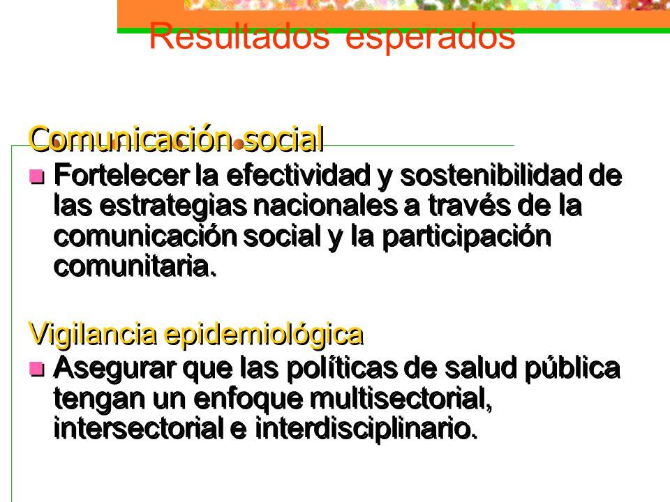 Resultados esperados Comunicación social