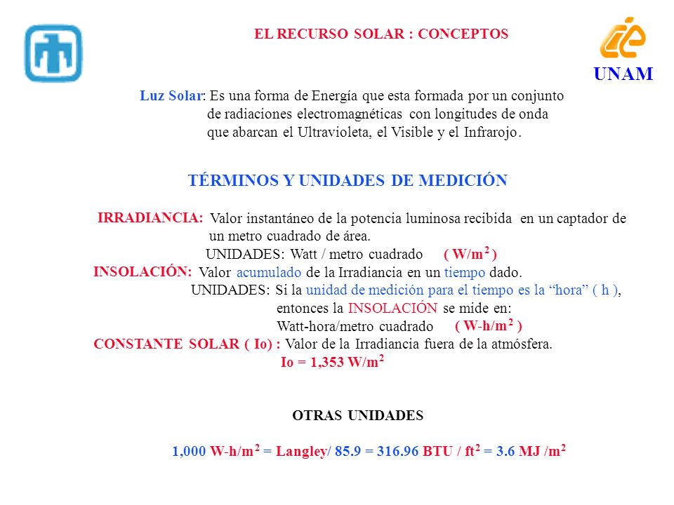 UNAM TÉRMINOS Y UNIDADES DE MEDICIÓN EL RECURSO SOLAR : CONCEPTOS