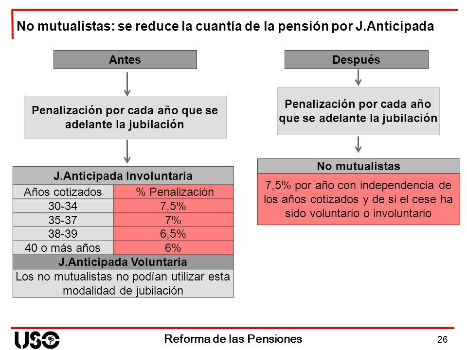 No mutualistas: se reduce la cuantía de la pensión por J.Anticipada