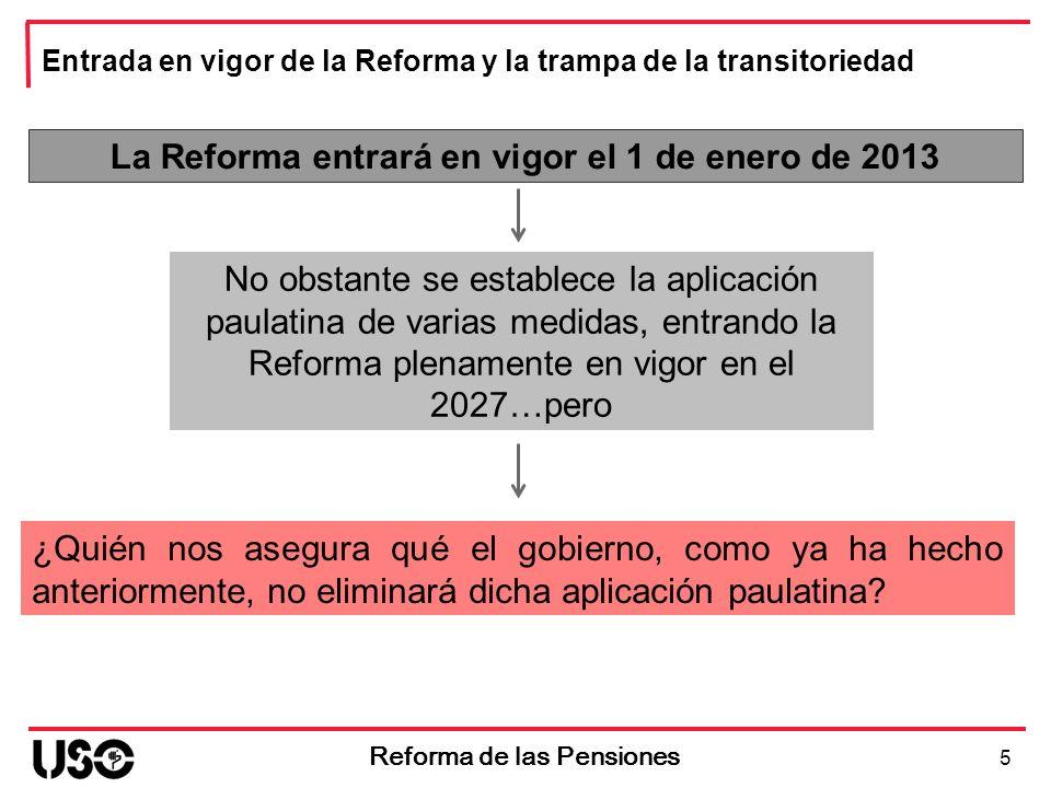 La Reforma entrará en vigor el 1 de enero de 2013