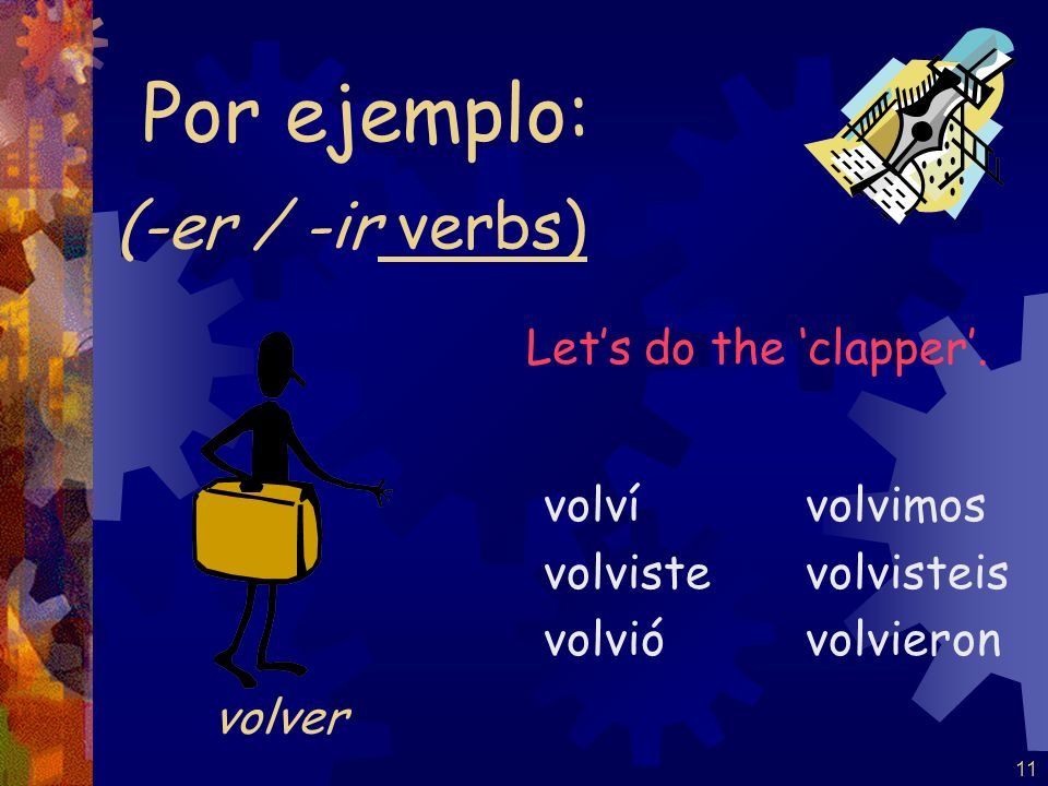 Por ejemplo: (-er / -ir verbs) Let's do the 'clapper'. volver volví