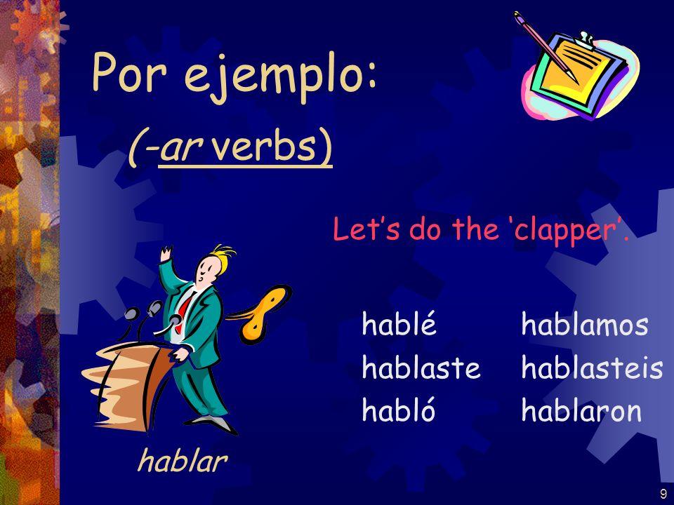 Por ejemplo: (-ar verbs) Let's do the 'clapper'. hablar hablé hablaste