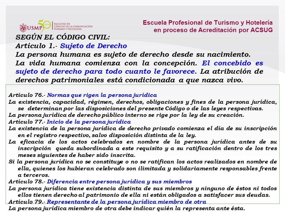 Artículo 1.- Sujeto de Derecho