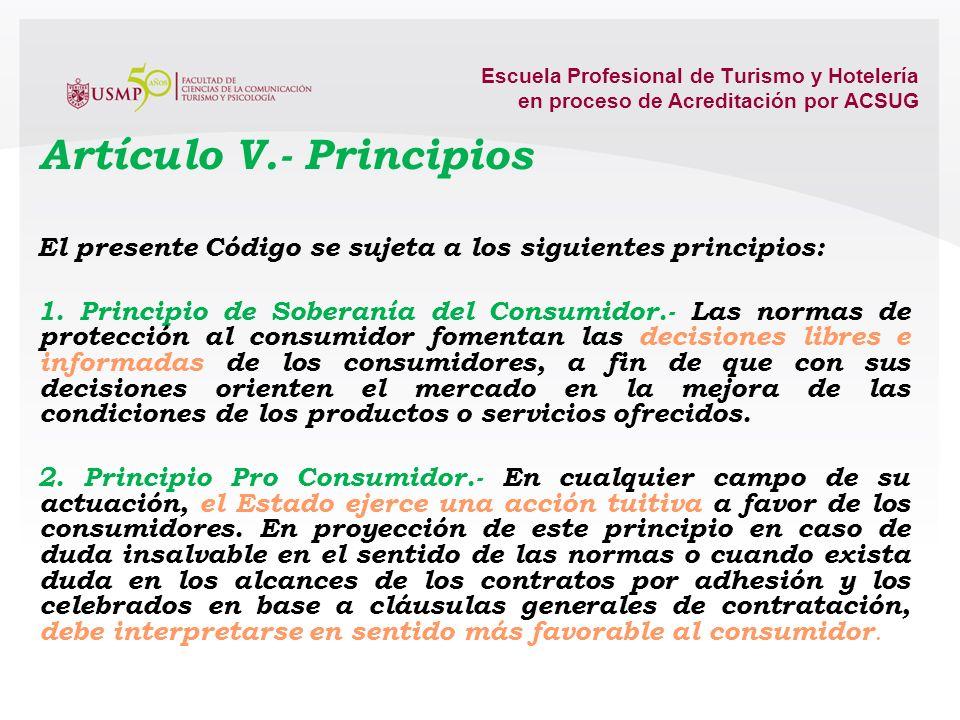 Artículo V.- Principios