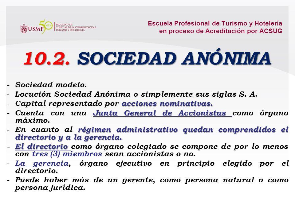 10.2. SOCIEDAD ANÓNIMA Sociedad modelo.