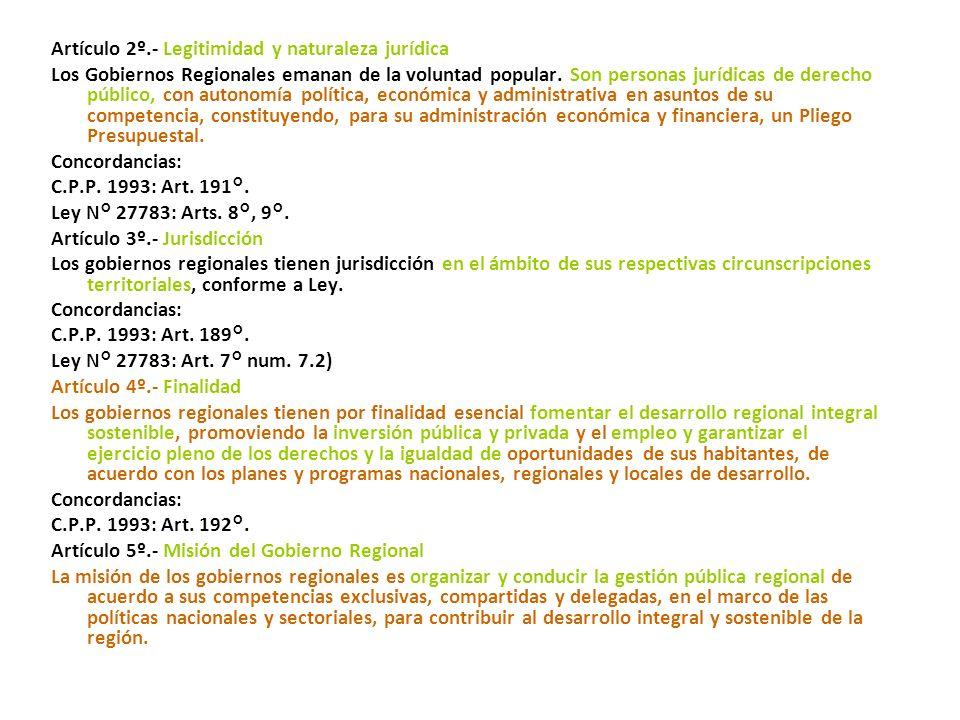 Artículo 2º.- Legitimidad y naturaleza jurídica Los Gobiernos Regionales emanan de la voluntad popular.