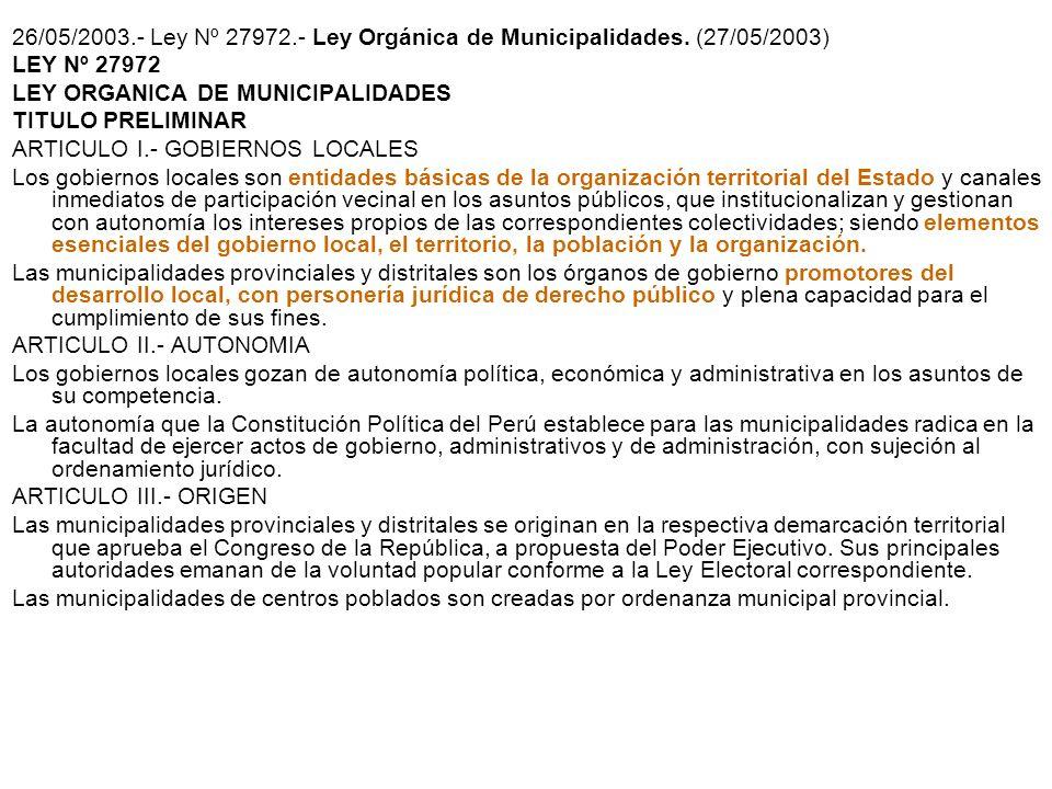 26/05/2003. - Ley Nº 27972. - Ley Orgánica de Municipalidades