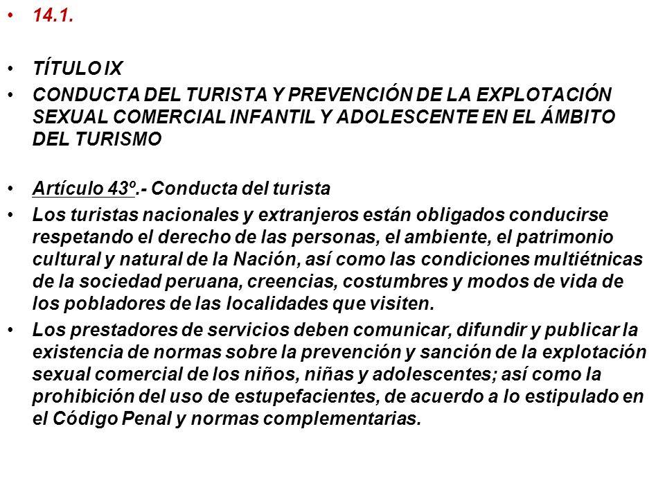 14.1.TÍTULO IX. CONDUCTA DEL TURISTA Y PREVENCIÓN DE LA EXPLOTACIÓN SEXUAL COMERCIAL INFANTIL Y ADOLESCENTE EN EL ÁMBITO DEL TURISMO