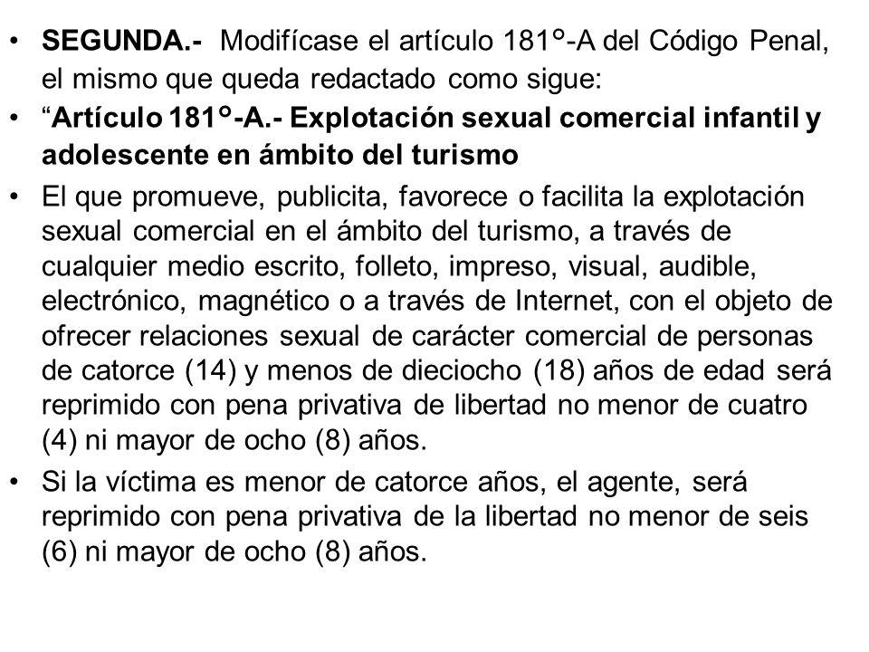 SEGUNDA.- Modifícase el artículo 181°-A del Código Penal, el mismo que queda redactado como sigue: