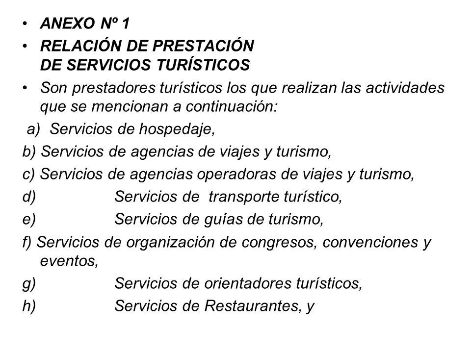 ANEXO Nº 1 RELACIÓN DE PRESTACIÓN DE SERVICIOS TURÍSTICOS.