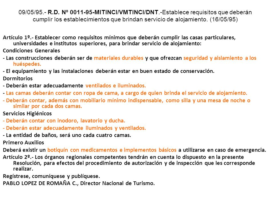09/05/95. - R. D. Nº 0011-95-MITINCI/VMTINCI/DNT