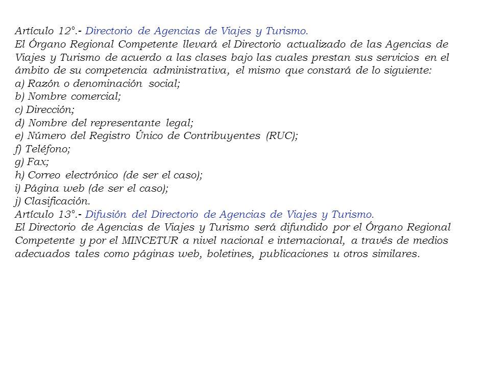 Artículo 12°. - Directorio de Agencias de Viajes y Turismo