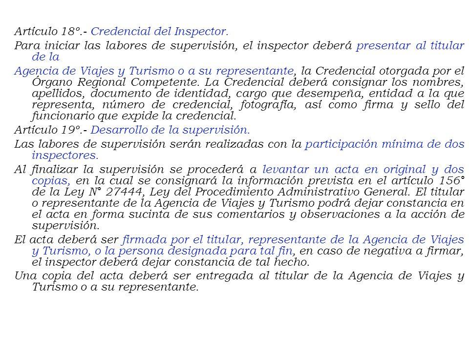Artículo 18º. - Credencial del Inspector