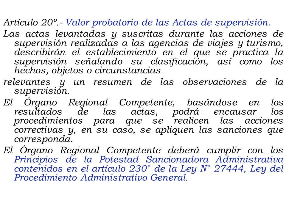 Artículo 20º. - Valor probatorio de las Actas de supervisión