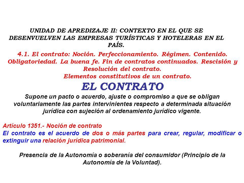 Elementos constitutivos de un contrato.
