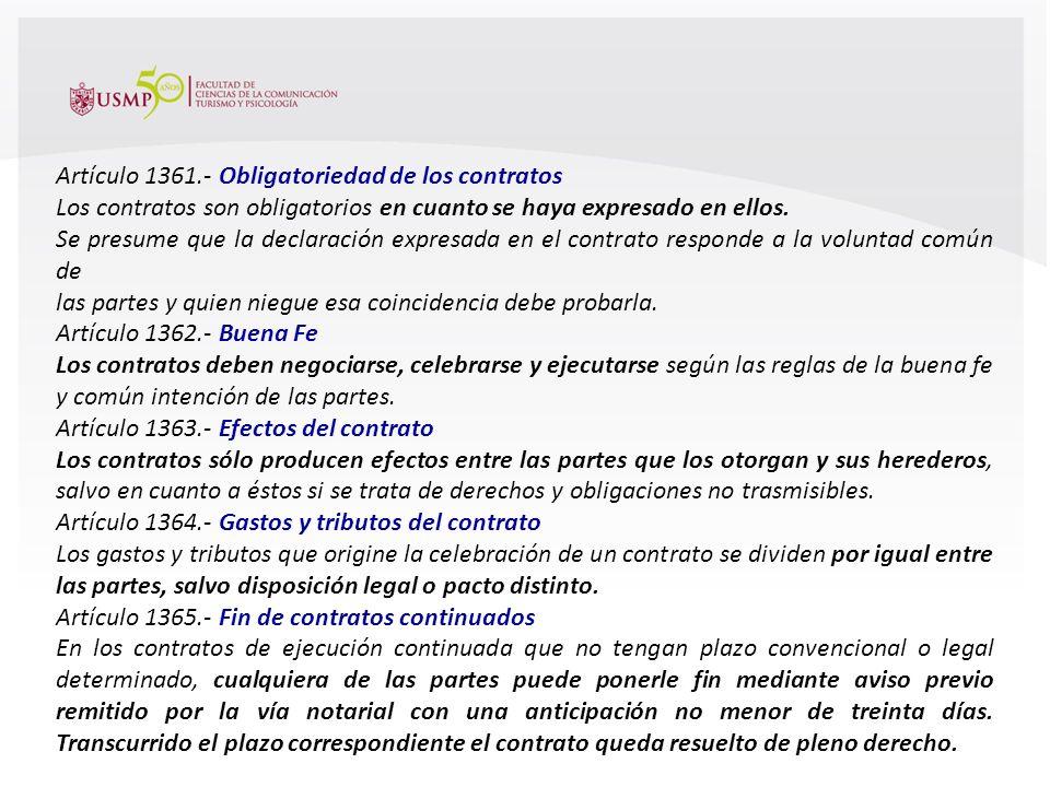 Artículo 1361.- Obligatoriedad de los contratos