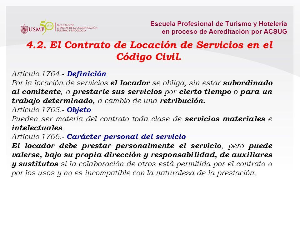 4.2. El Contrato de Locación de Servicios en el Código Civil.