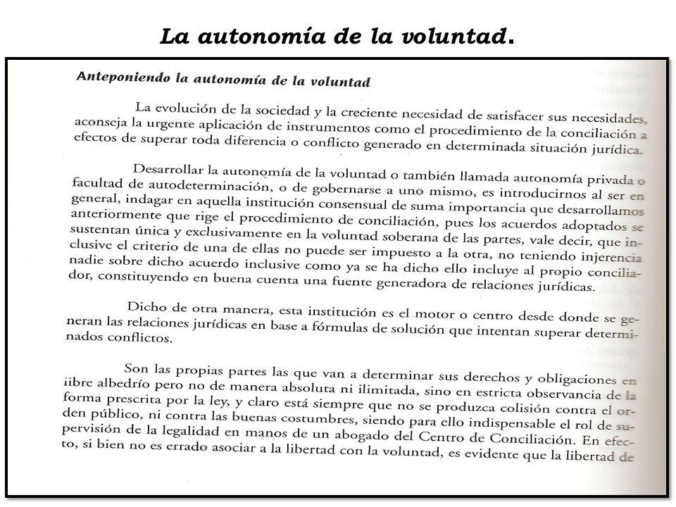 La autonomía de la voluntad.