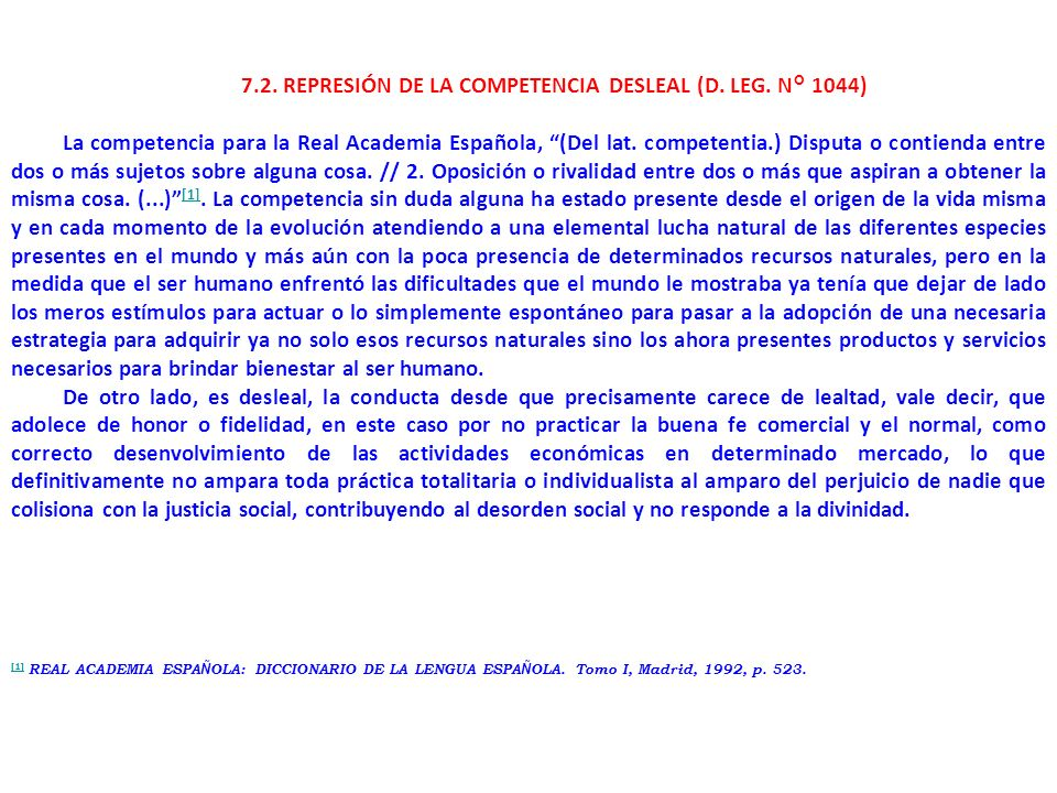 7.2. REPRESIÓN DE LA COMPETENCIA DESLEAL (D. LEG. N° 1044)