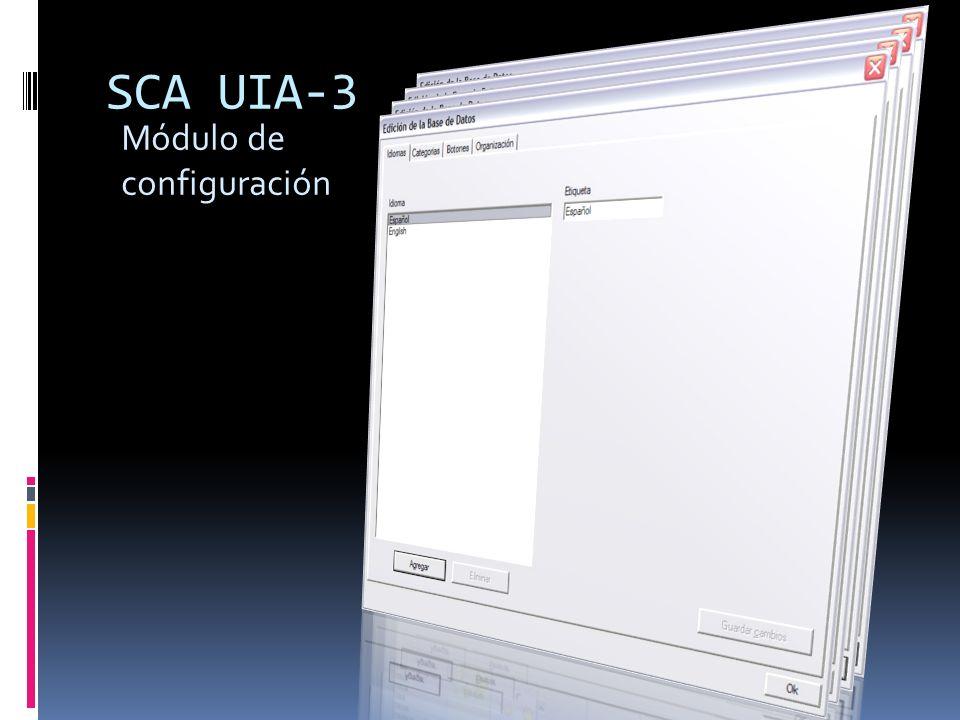 SCA UIA-3 Módulo de configuración