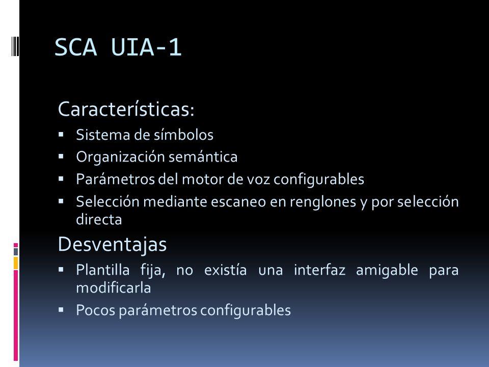 SCA UIA-1 Características: Desventajas Sistema de símbolos