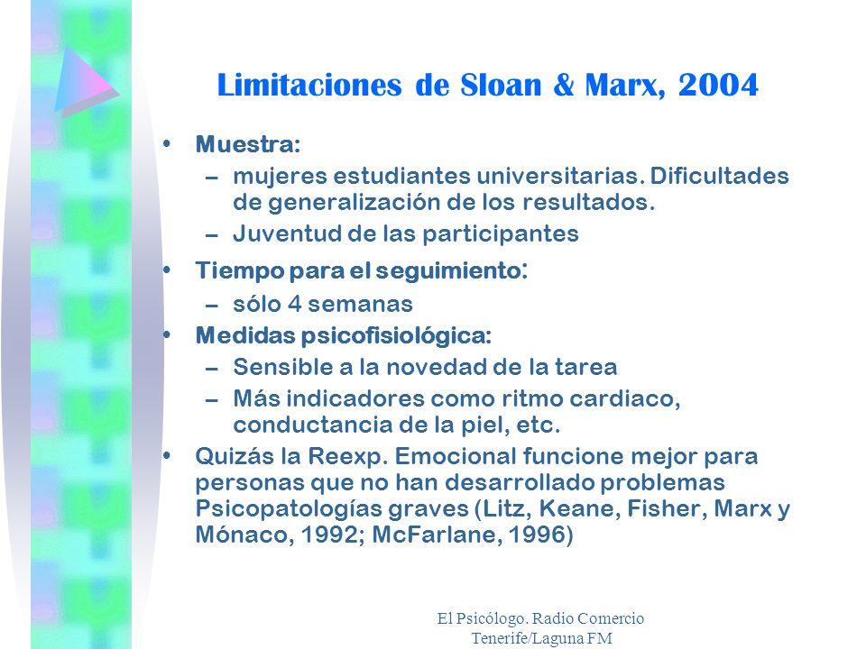 Limitaciones de Sloan & Marx, 2004