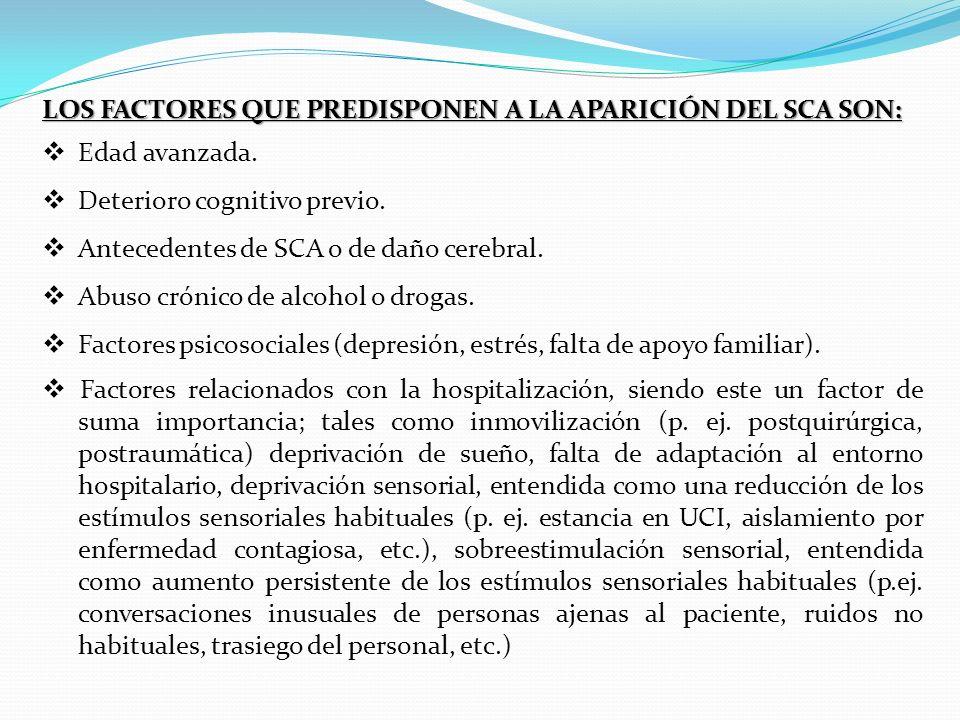 Los factores que predisponen a la aparición del SCA son:
