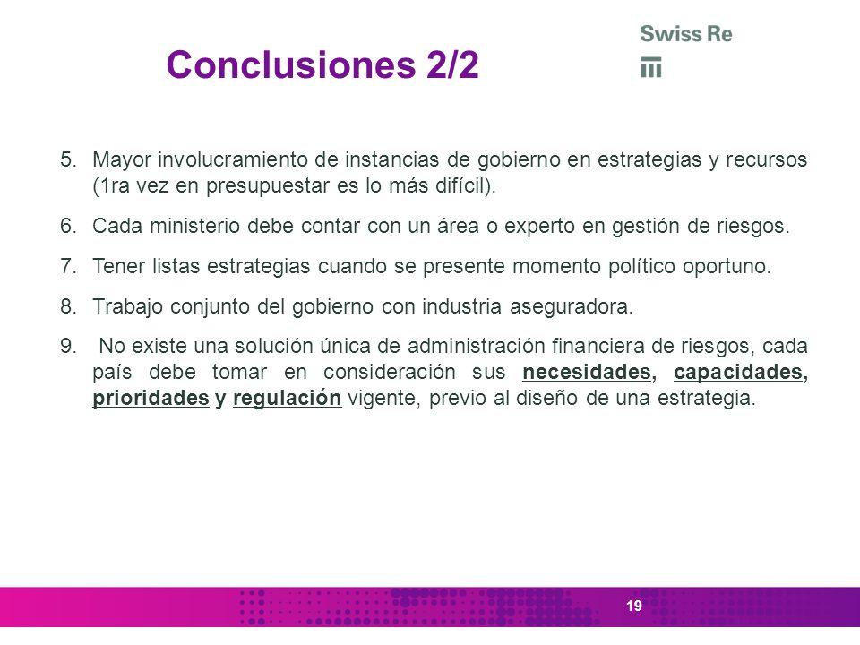 Conclusiones 2/2 Mayor involucramiento de instancias de gobierno en estrategias y recursos (1ra vez en presupuestar es lo más difícil).