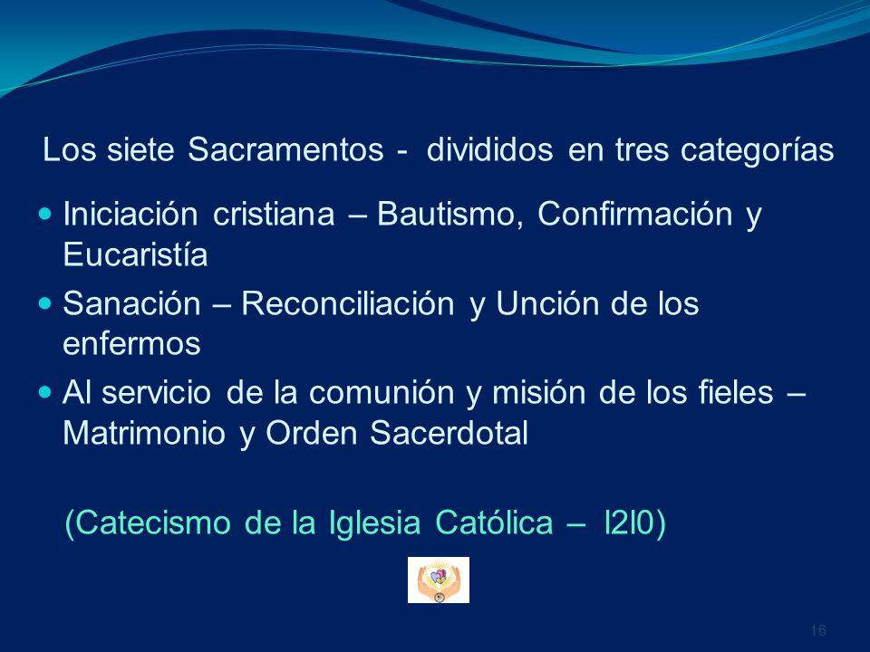 Los siete Sacramentos - divididos en tres categorías
