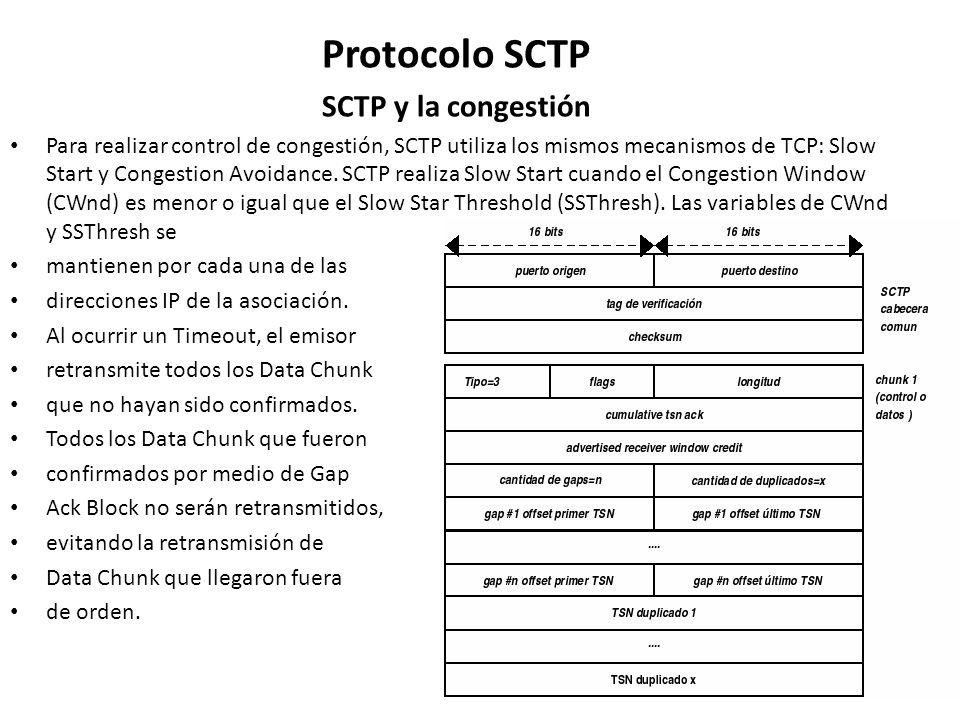 Protocolo SCTP SCTP y la congestión