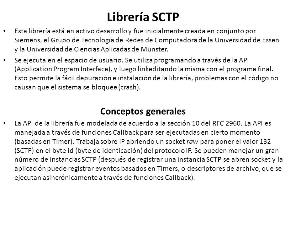Librería SCTP Conceptos generales