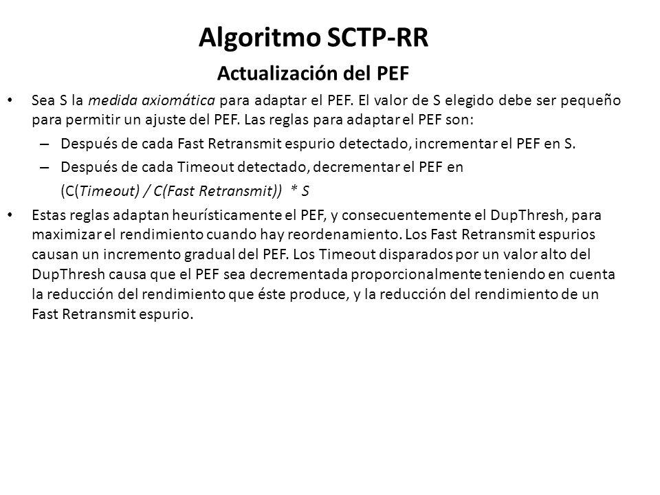 Algoritmo SCTP-RR Actualización del PEF