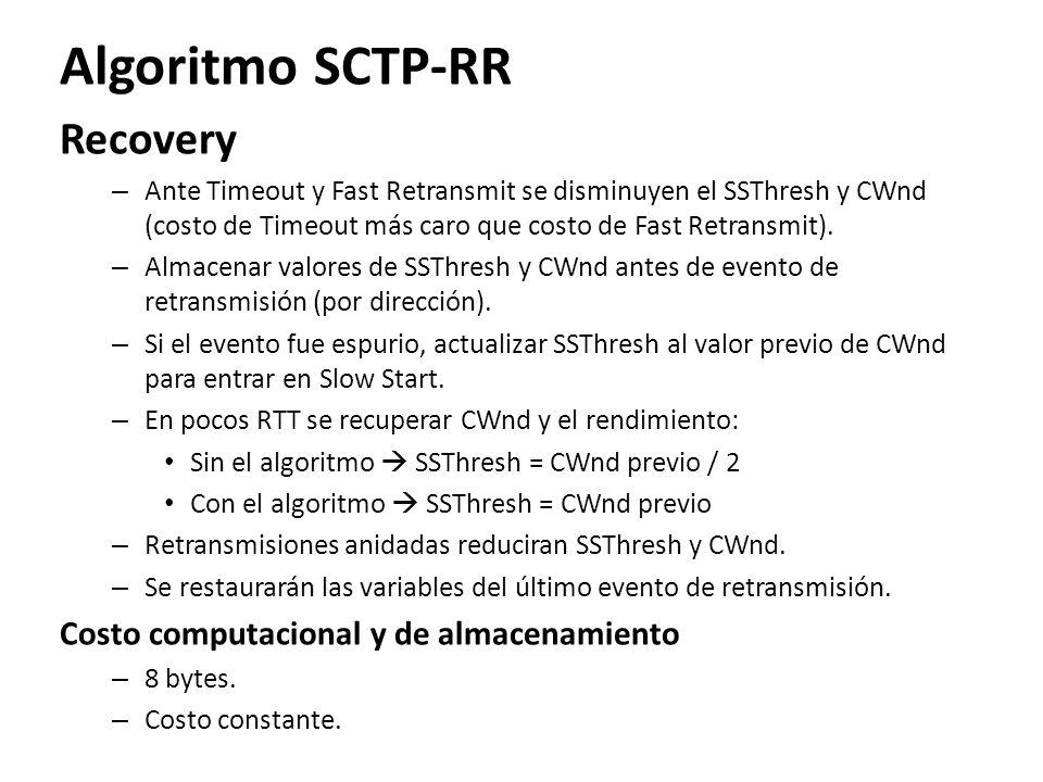 Algoritmo SCTP-RR Recovery Costo computacional y de almacenamiento