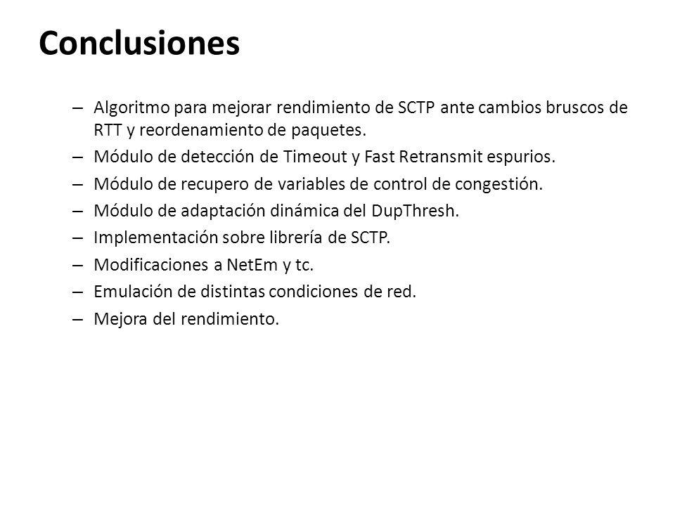 Conclusiones Algoritmo para mejorar rendimiento de SCTP ante cambios bruscos de RTT y reordenamiento de paquetes.