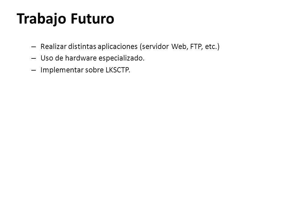 Trabajo Futuro Realizar distintas aplicaciones (servidor Web, FTP, etc.) Uso de hardware especializado.