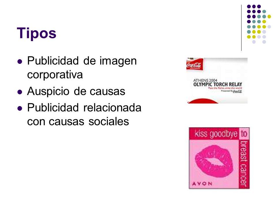 Tipos Publicidad de imagen corporativa Auspicio de causas