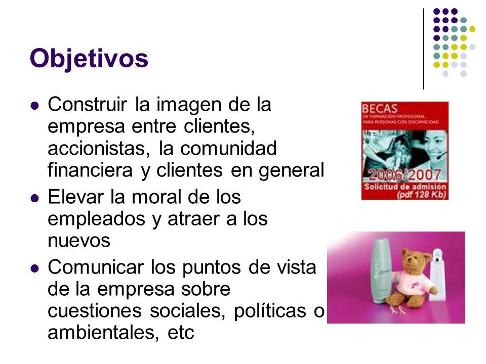 Objetivos Construir la imagen de la empresa entre clientes, accionistas, la comunidad financiera y clientes en general.