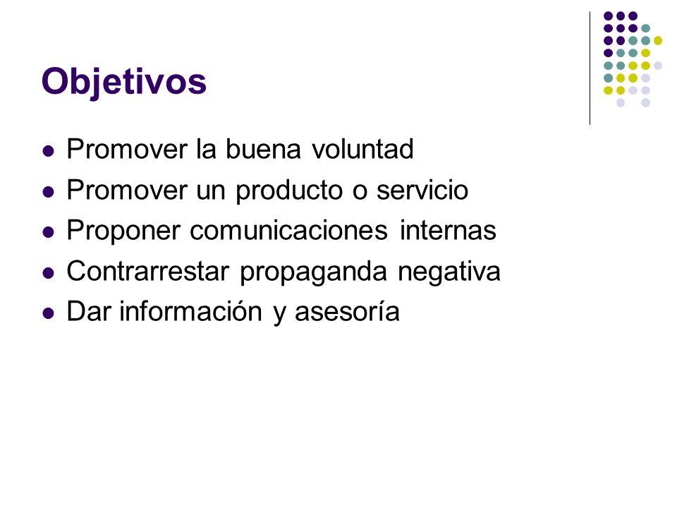 Objetivos Promover la buena voluntad Promover un producto o servicio