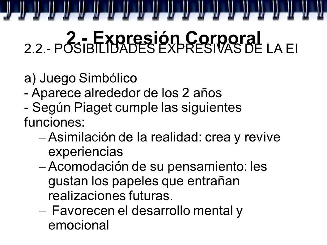 2.- Expresión Corporal 2.2.- POSIBILIDADES EXPRESIVAS DE LA EI