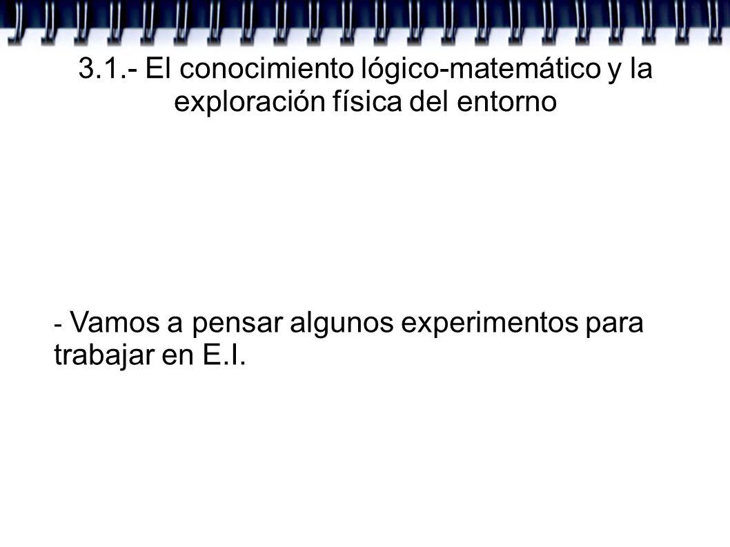 3.1.- El conocimiento lógico-matemático y la exploración física del entorno