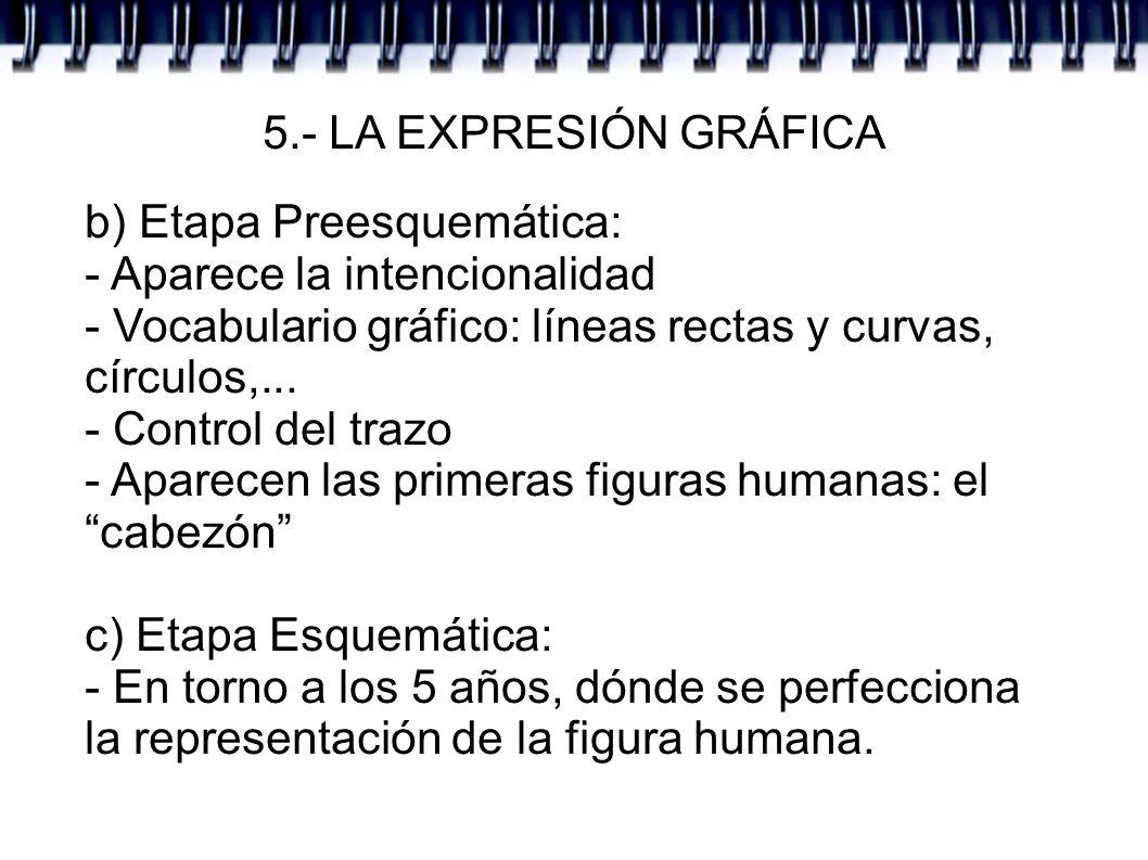 5.- LA EXPRESIÓN GRÁFICA b) Etapa Preesquemática: - Aparece la intencionalidad. - Vocabulario gráfico: líneas rectas y curvas, círculos,...