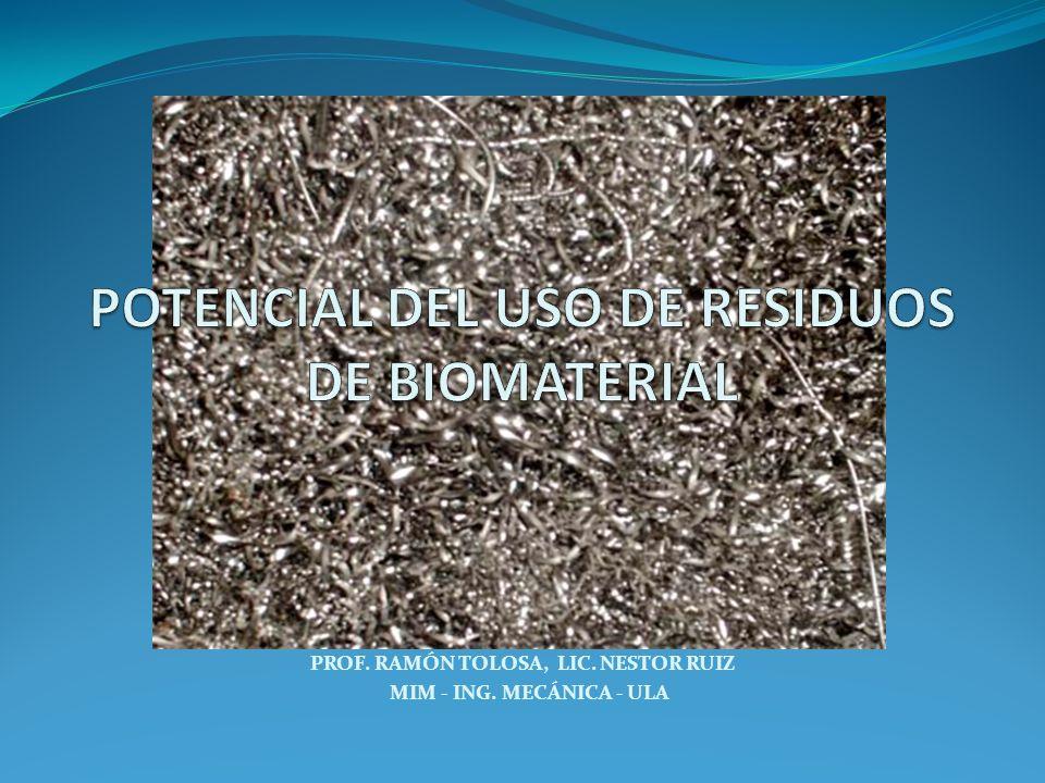 POTENCIAL DEL USO DE RESIDUOS DE BIOMATERIAL