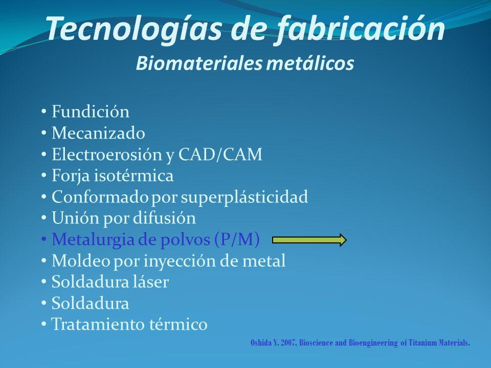 Tecnologías de fabricación Biomateriales metálicos