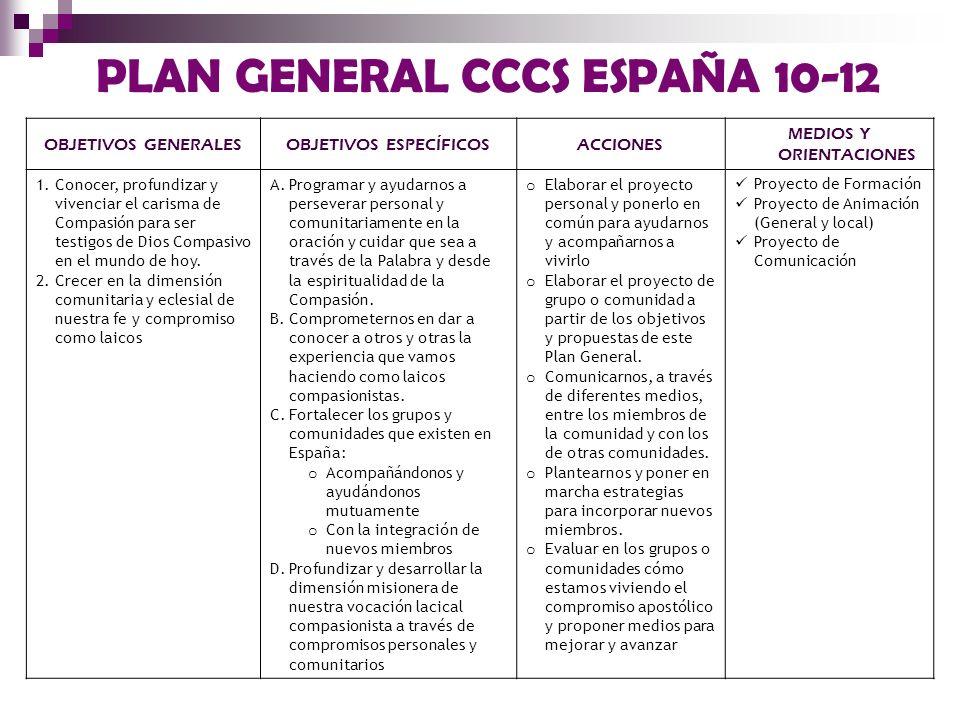 PLAN GENERAL CCCS ESPAÑA 10-12