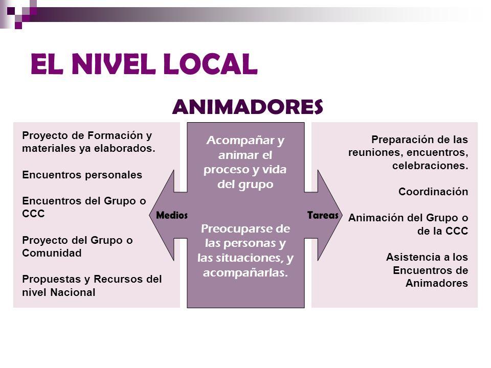 EL NIVEL LOCAL ANIMADORES Medios Tareas