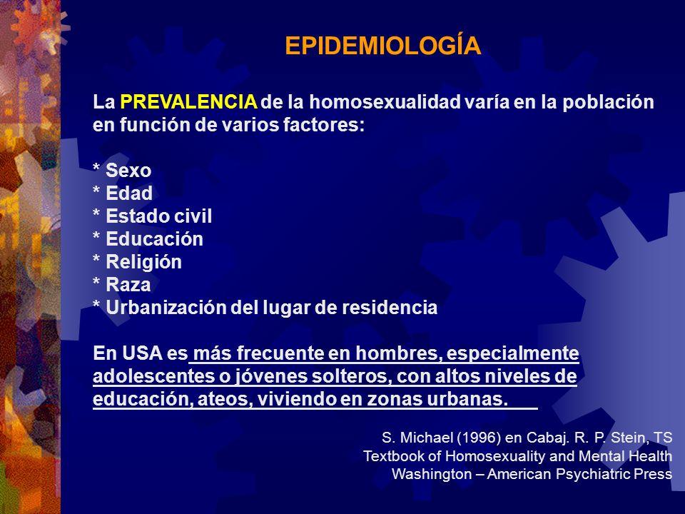 EPIDEMIOLOGÍA La PREVALENCIA de la homosexualidad varía en la población en función de varios factores: