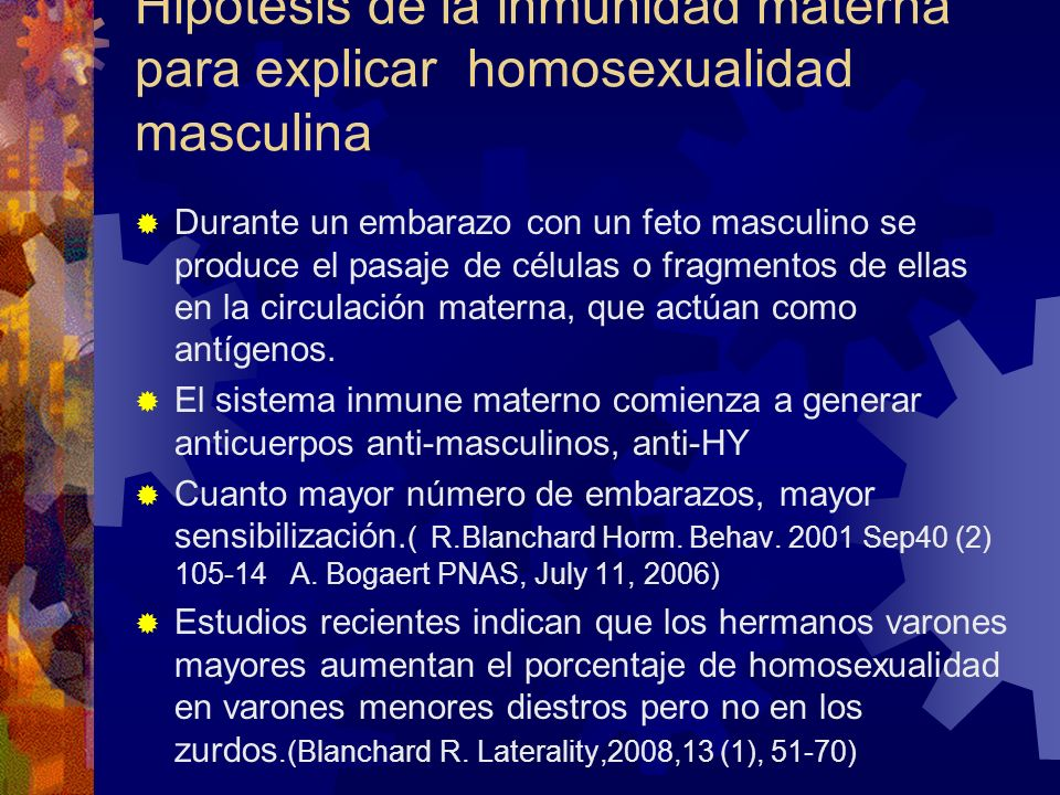 Hipótesis de la inmunidad materna para explicar homosexualidad masculina