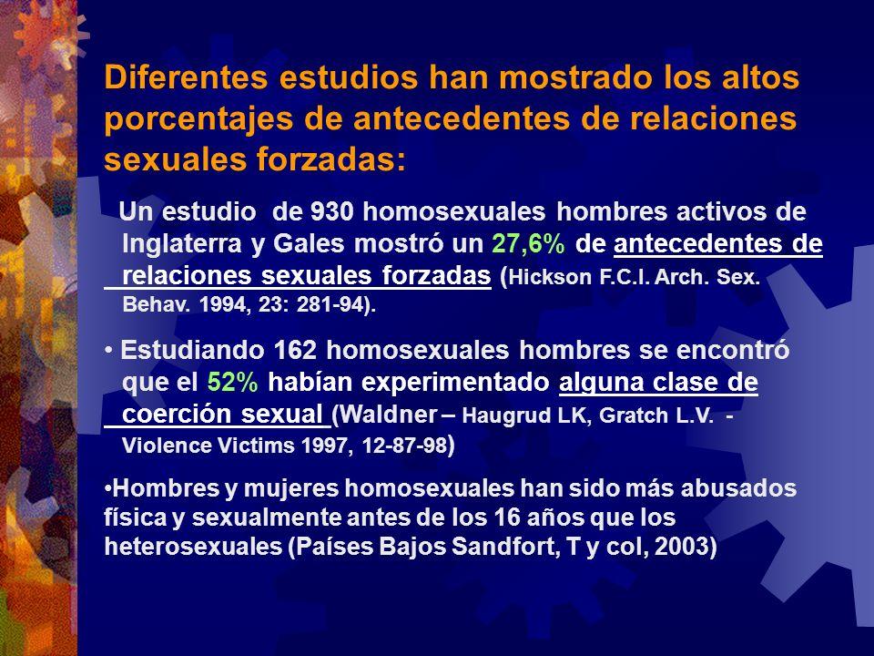 Diferentes estudios han mostrado los altos porcentajes de antecedentes de relaciones sexuales forzadas: