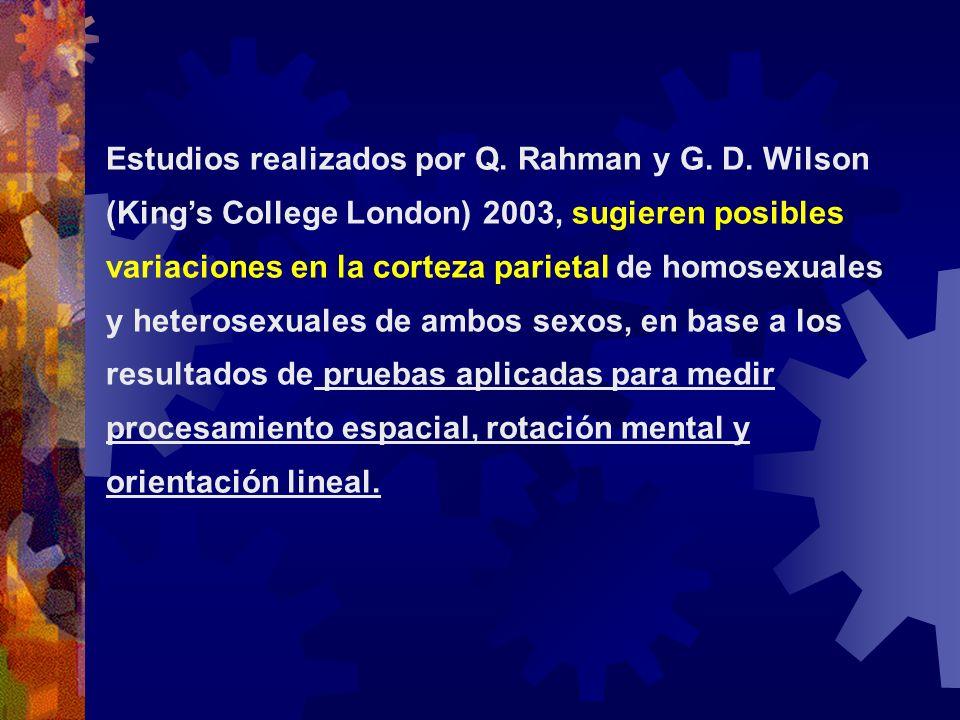 Estudios realizados por Q. Rahman y G. D