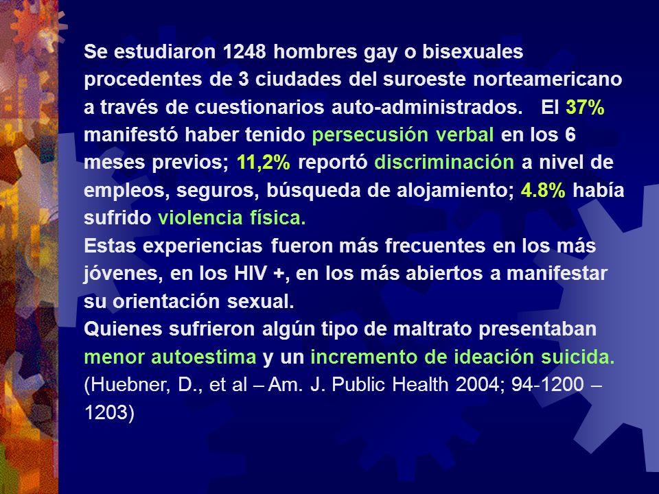 Se estudiaron 1248 hombres gay o bisexuales procedentes de 3 ciudades del suroeste norteamericano a través de cuestionarios auto-administrados. El 37% manifestó haber tenido persecusión verbal en los 6 meses previos; 11,2% reportó discriminación a nivel de empleos, seguros, búsqueda de alojamiento; 4.8% había sufrido violencia física.